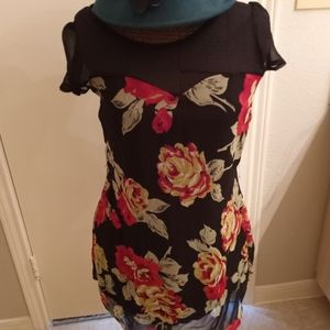 Pinky Black and Floral Dress
